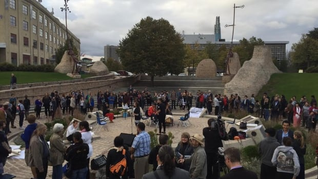 Winnipeggers gather at Oodena Circle at The Forks on Sept. 18, 2015, for Our Summit on racial inclusion.
