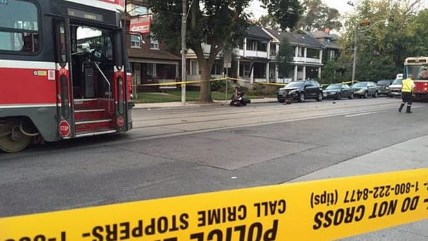 A motorcycle rider was rushed to hospital in critical condition after a collision involving a streetcar this morning at Queen Street East near Queenwood Avenue.