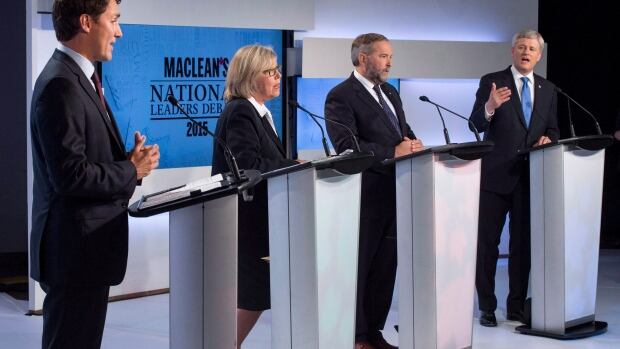 Green Party Leader Elizabeth May participated in the first leaders' debate held Aug. 6 in Toronto, but was not invited to Thursday's debate in Calgary. The Green Party is using charity law to challenge her exclusion from the Sept. 28 Munk debate in Toronto.