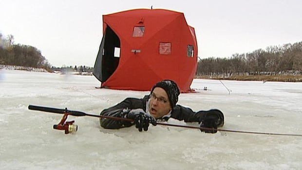 Gordon Geisbrecht, AKA Professor Popsicle, is seen plunging into the Red River in the name of ice safety awareness in 2013.