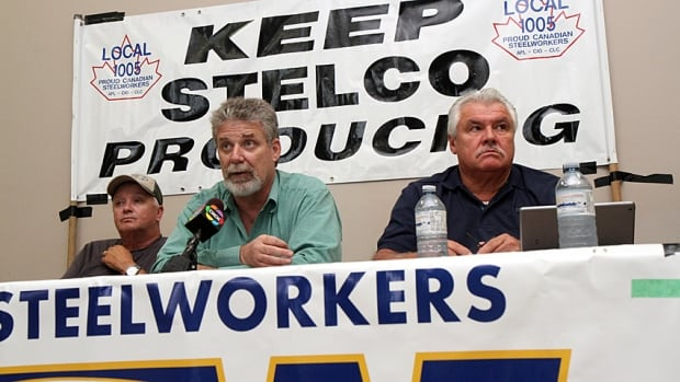 The United Steelworkers are calling on steelworkers to rally at a Toronto courthouse on Tuesday. Bill Ferguson, president of the United Steelworkers Local 8782 for Nanticoke, spoke during a media conference this month against the company's request to stop paying post-employment benefits. Rob Newstead, USW chair of Nanticoke's pickling division, is on the left. At right is Tony DePaulo, a division assistant to the director.