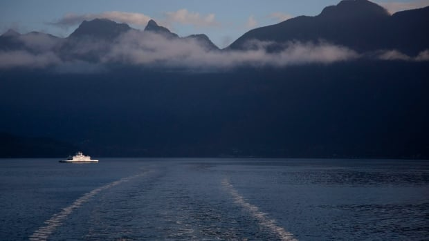 A ferry is seen making its way into Horseshoe Bay, B.C.  The B.C. government plans to study the costs of a possible highway link to the Sunshine Coast.