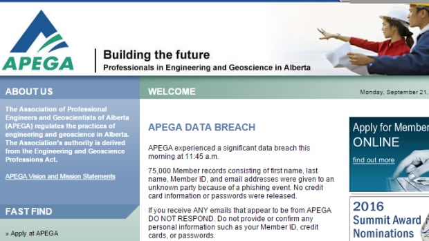 The Association of Professional Engineers and Geoscientists of Alberta says the names, email address and ID numbers of its 75,000 members were given to an unknown party because of a phishing event.