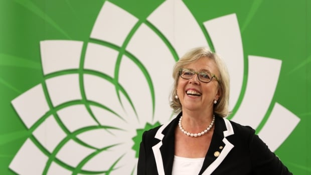 Green Party Leader Elizabeth May criticized Conservative Leader Stephen Harper and NDP Leader Tom Mulcair for not agreeing to participate in a planned, then cancelled federal leaders' debate on women's issues.