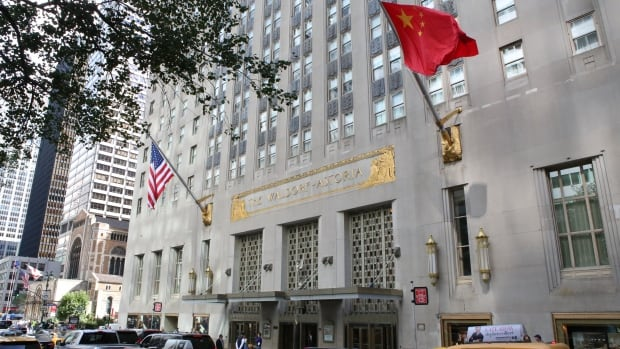 Manhattan's Waldorf-Astoria hotel flies the Chinese flag as well as a U.S. flag, after the iconic building was purchased last year by a Chinese insurance company. U.S. President Barack Obama will not be staying at the hotel during the 2015 UN General Assembly, the first time an American head of state has stayed elsewhere during the event since the 1930s.