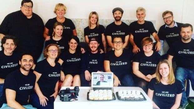 The staff at Civilized on launch day. The online publication has created 14 jobs in Saint John.