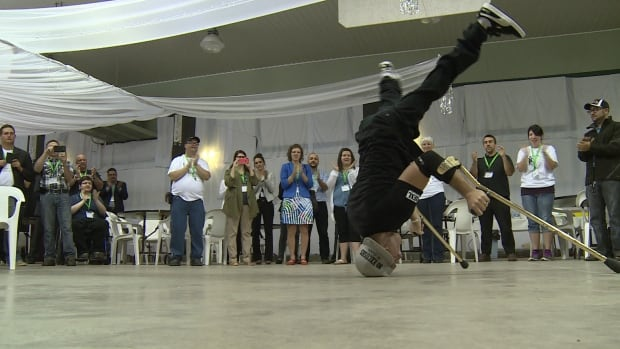 Luca Patuelli may not be able to walk, but that doesn't stop him from dancing. He was at  a job fair for people with disabilities, encouraging people that there is no limit to what someone can do, whether they have a disability or not.