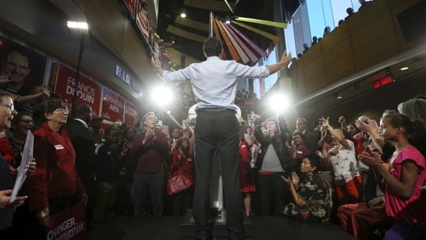 Liberal Leader Justin Trudeau gestures during a campaign rally in Ottawa on  Sept. 21.