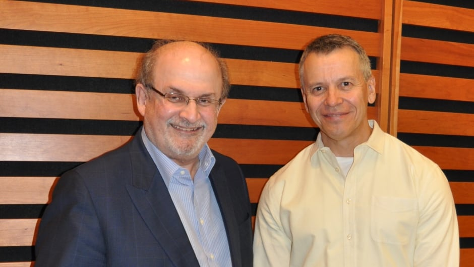 "Salman Rushdie with CBC's Brent Bambury at the Toronto Reference Library's Appel Salon on September 24th 2015. Bambury hosted an on-stage event to discuss Rushdie's new novel ""2 years 8 months and 28 nights."""