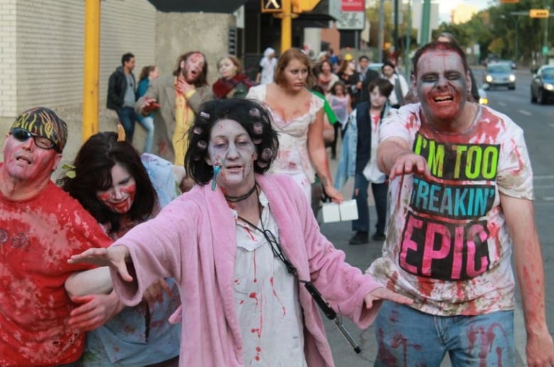 Zombies Take Over Downtown Regina Looking For Food Cbc News