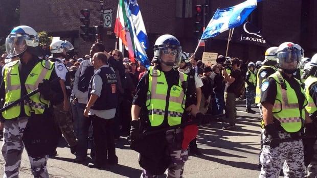 PEGIDA and anti-fascist protesters met near Berri-UQAM Metro station in Montreal.