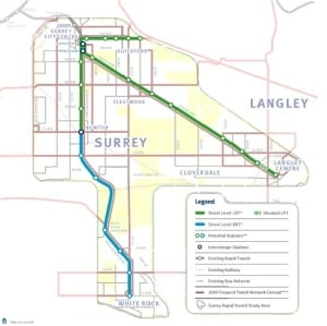 Surrey transit plan map