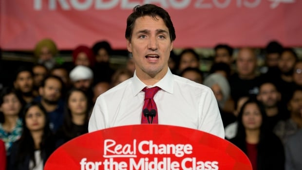 Liberal Leader Justin Trudeau speaks at a campaign stop in Brampton, Ont., in September. As a prime minister, the view from the podium seems different.