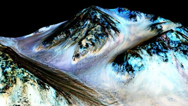 The study analyzed chemical signatures in streaks that form on some slopes on Mars during warmer times of the year, such the dark streaks in this image. 'These results strongly support the hypothesis that seasonal warm slopes are forming liquid water on contemporary Mars,' the researchers wrote.