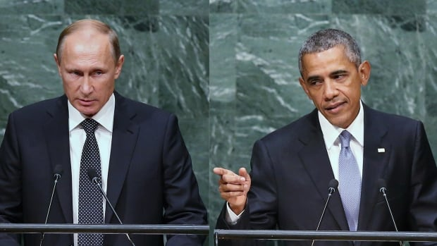 Russian President Vladimir Putin, left, and U.S. President Barack Obama address the UN General Assembly on Monday.