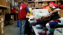 CBC Montreal Do Crew sorting at Welcome Hall Mission