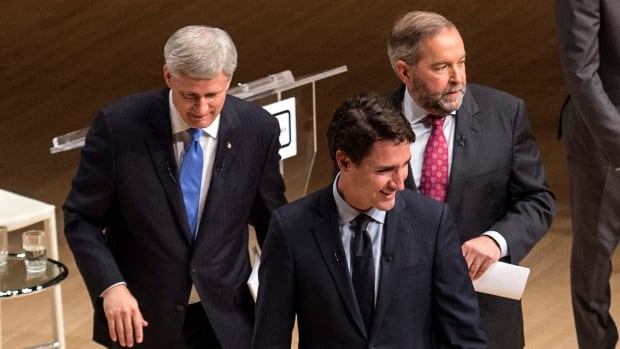 Post-election polls suggest prime minister-designate Justin Trudeau, front, benefited from a desire for change and key platform decisions, at the expense of Conservative Leader Stephen Harper, left, and NDP Leader Tom Mulcair.