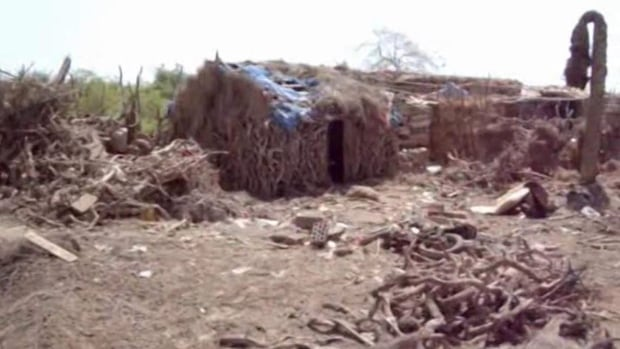 This image taken from video shows destruction to buildings after an airstrike hit a wedding party in al-Wahga, a village near the strategic Strait of Bab al-Mandab, Yemen. The death toll from the airstrike has risen to 131, making it the deadliest single incident since the start of the country's civil war, medical officials said Tuesday.