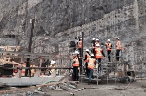 Rock wall at Muskrat Falls
