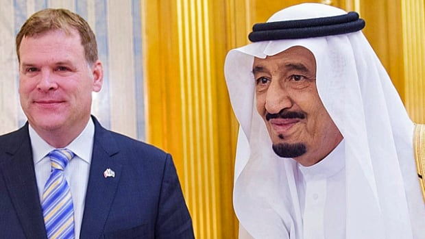 Former Conservative foreign affairs minister John Baird meets then Crown Prince Salman bin Abdulaziz Al Saud in Jiddah in October 2014, just three months before Salman would become king.