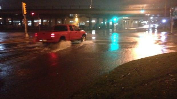 Some streets in Saint John underwater.