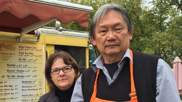 Lucie and Richard Eng's chip truck, the Sweet Potato, has been broken into six times since they opened it. Frustrated with the police response, the couple posted pictures of the thieves online, captured on a security camera.