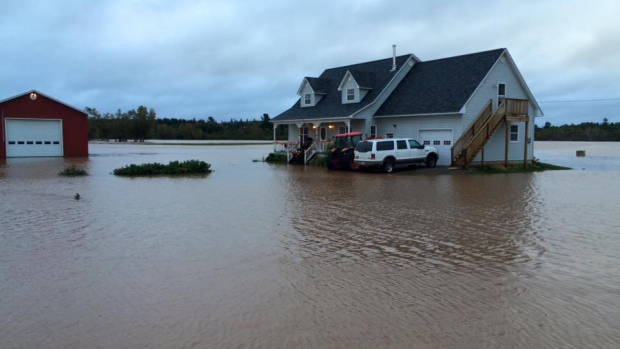 Hoyt on October 1, with people in this home stranded.