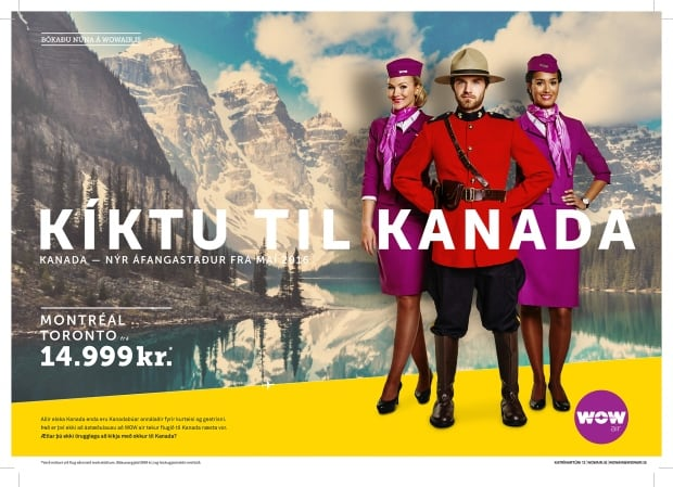 WOW Air launches 99 dollar flights from Canada to Iceland advertisement Oct 1 2015