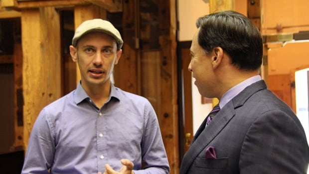Shopify CEO Tobias Lutke with Brad Duguid, the Ontario minister of economic development, at the company's new office space in Waterloo, Ont.