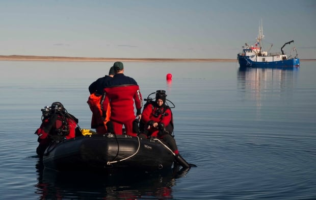 Underwater archeologists prepare to dive to HMS Erebus