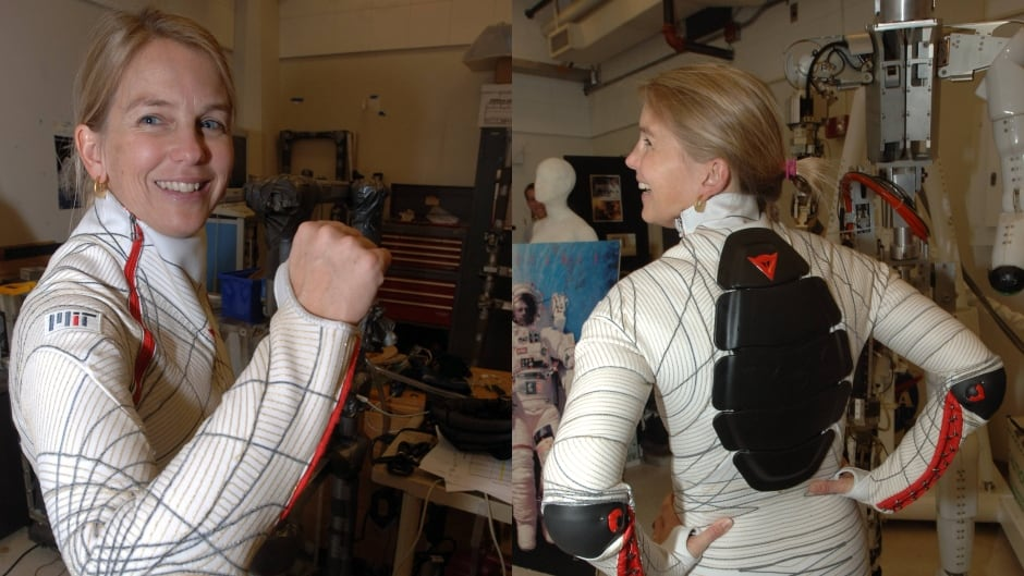 "Dr. Newman models her ""Bio-suit"" spacesuit prototype at MIT."