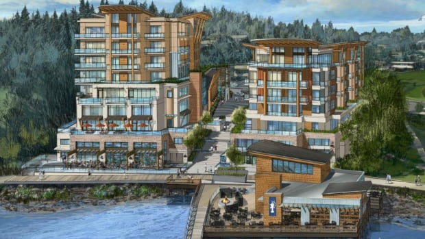 The George hotel and condo complex would feature two towers along the Gibsons Landing waterfront.