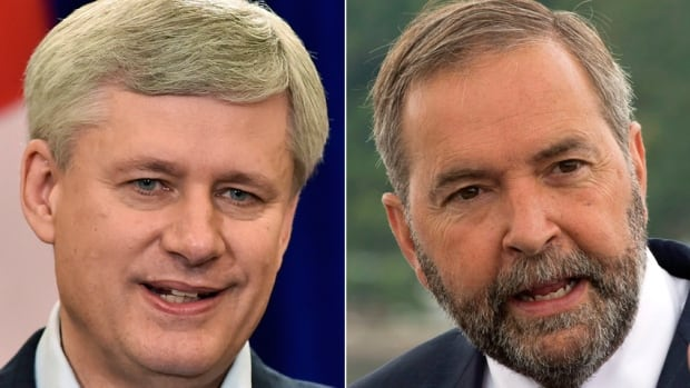 Conservative Leader Stephen Harper and NDP Leader Tom Mulcair will unveil their parties' platforms with less than two weeks left in the campaign.