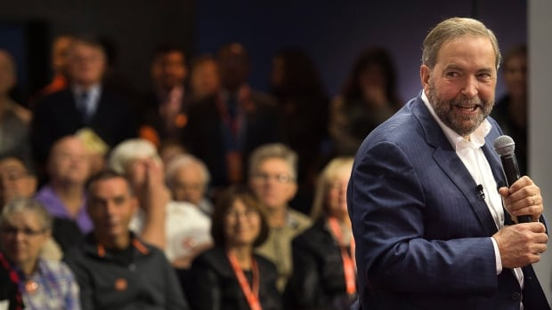 NDP Leader Tom Mulcair takes questions from the crowd during a campaign stop in Montreal last Thursday. Mulcair also taped an episode of Radio-Canada's popular Tout le monde en parle while in Montreal, which aired Sunday night.