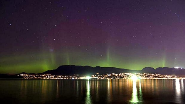 Rick Etkin snapped this picture of the Northern Lights over the North Shore Mountains from Vancouver's Spanish Banks on Sunday.
