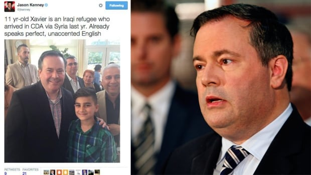 Jason Kenney says he deleted a tweet because he didn't want a refugee boy to become the subject of controversy.