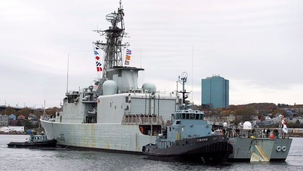 HMCS Athabaskan was fuelling up when about 800 litres of fuel spilled into Halifax Harbour. The Royal Canadian Navy says most of the spill was contained by a boom around the ship.