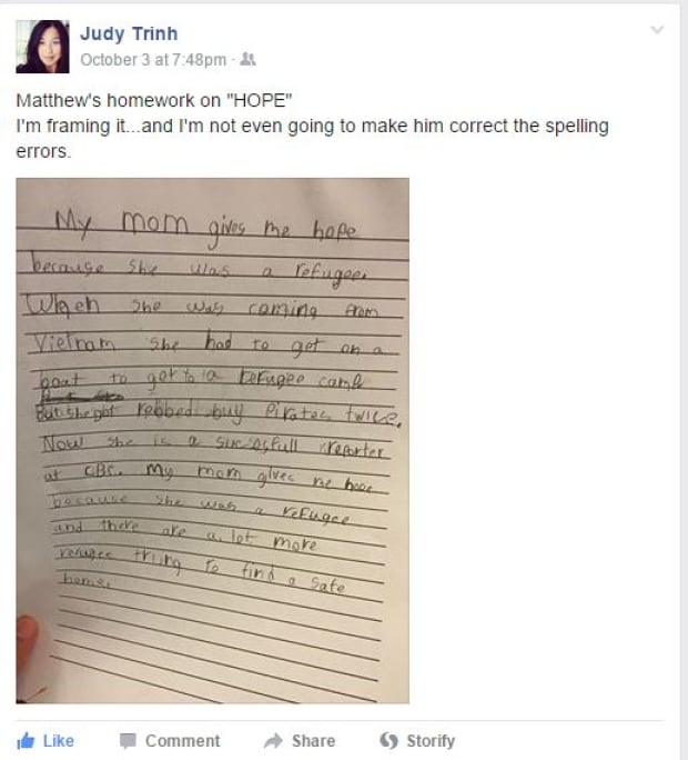 Judy Trinh Facebook post about son Matthew's letter