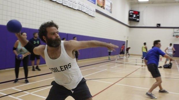 A player taking part in a drop-in game organized by Dodgeball Winnipeg in September.
