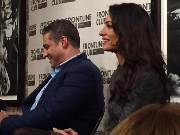 Mohamed Fahmy and Amal Clooney at Frontline Club