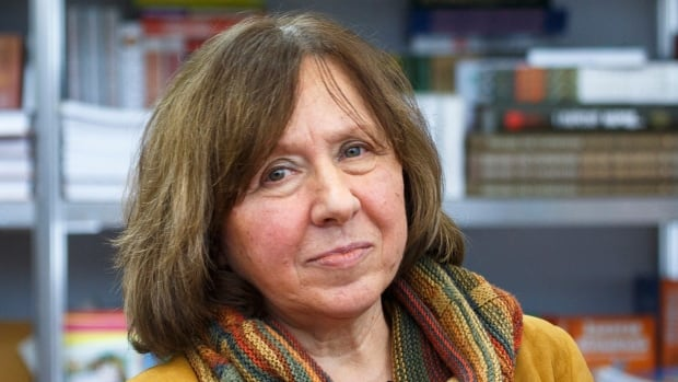 Belarusian writer Svetlana Alexievich is seen during a book fair in Minsk, Belarus, in February 2014. Alexievich won the 2015 Nobel Prize for Literature, the award-giving body announced on Thursday.