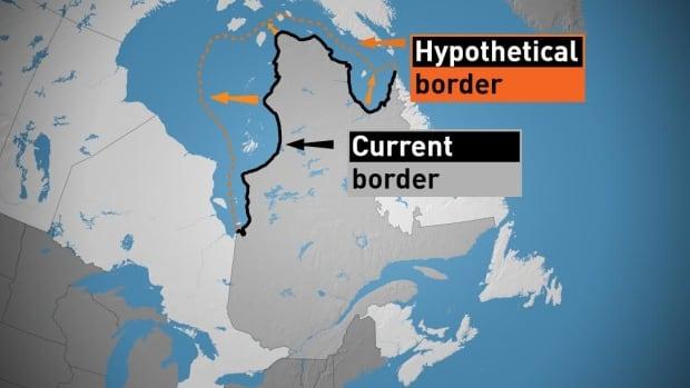 Quebec's 2,500 km-long northern border, set in 1912, ends at the shoreline along the Hudson Strait and Hudson Bay.