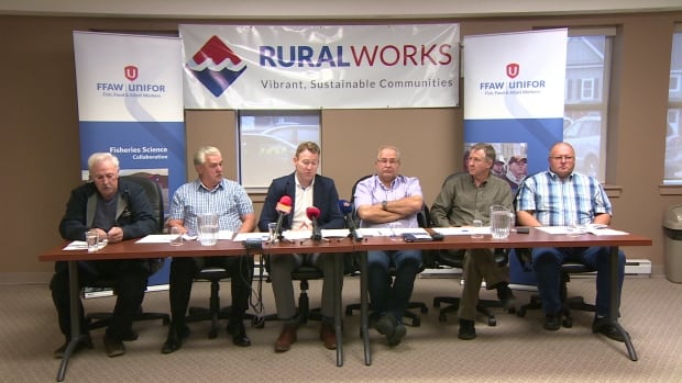 The president of the Fish, Food and Allied Workers Union announces the launch of a campaign to promote rural issues. (CBC)