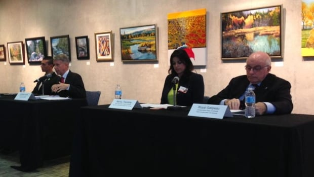 From left: Green Party candidate Raphaël Morin, Liberal candidate Andrew Leslie, NDP candidate Nancy Tremblay and Conservative candidate Royal Galipeau participated in an all-candidates debate organized by the Orleans Chamber of Commerce on Thursday, Oct. 8, 2015.