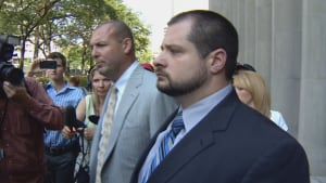 Toronto police Cst. James Forcillo (right) and defence lawyer Peter Brauti