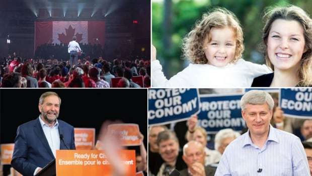 Images from the 2015 party platforms, clockwise from top left: Liberal, Green, Conservative, NDP. All four main national federal parties have released their 2015 election documents.