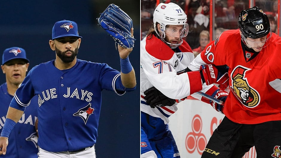 Left to right: The Blue Jays Jose Bautista, the Canadiens Tom Gilbert, and the Senators Alex Chiasson.