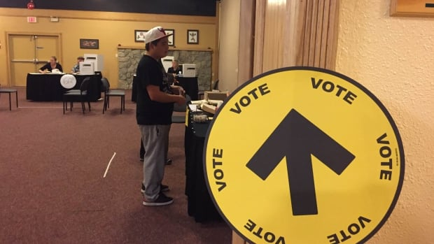 Indigenous man casts ballet during advance voting in the Yukon.