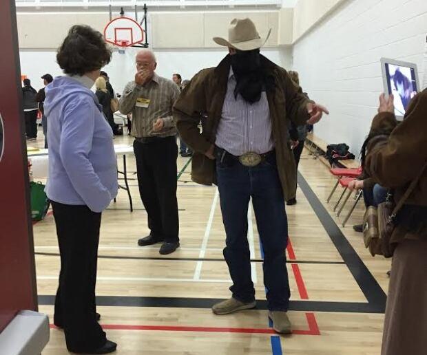 Cowboy at polling station