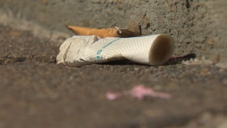 Cigarette butt on pavement litter